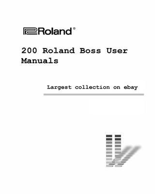 Product picture Giant Roland Boss Manual collection Vol 1