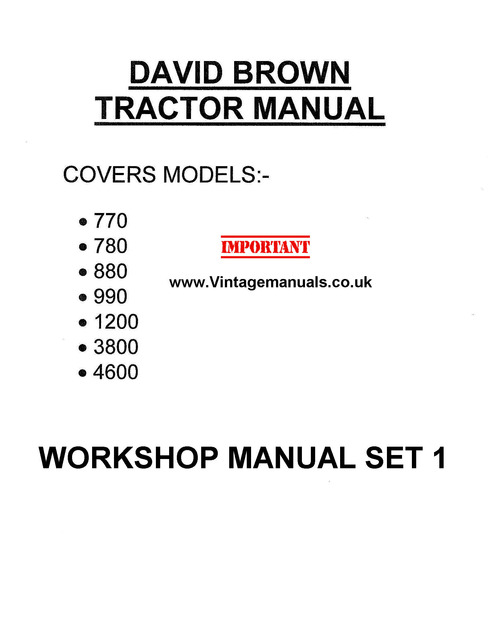 Product picture David Brown Vintage Tractor 770 780 880 990 3800 4600
