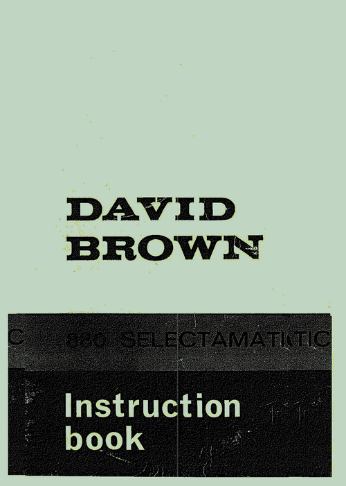 Product picture David Brown 880 Tractor Manual Operation Book